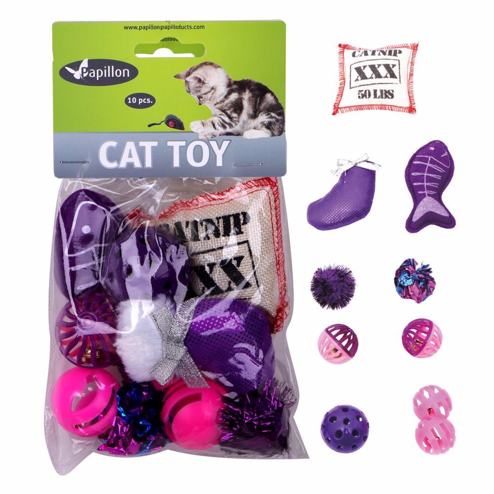 Hračky pro kočky -fialkový Mix 10ks-240099