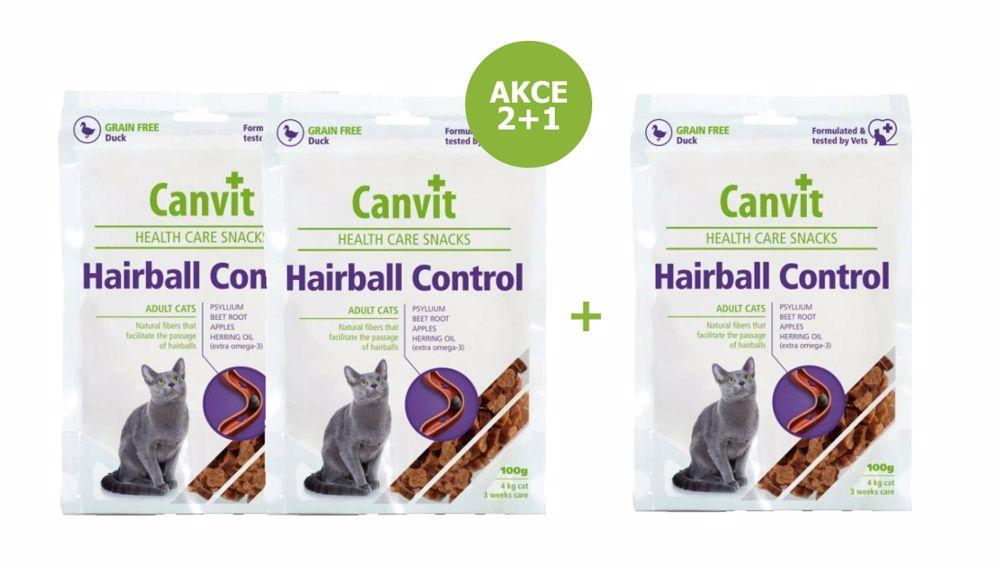 Canvit Snacks  CAT Hairball Control 100g-AKCE 2+1 Zdarma