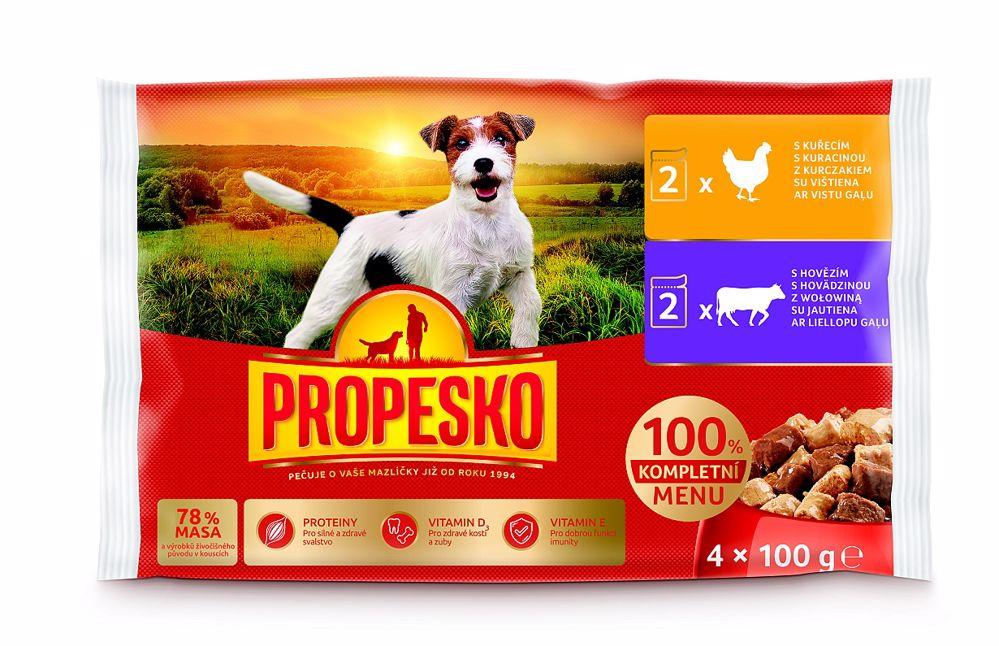 PROPESKO Dog hovězí a kuřecí, kapsa 100 g (pack 4 ks)