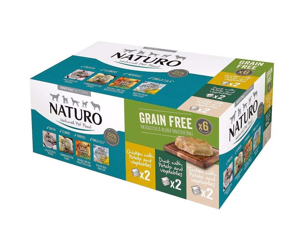 Naturo dog Grain Free Variety 6 Pack 6x400g-15575