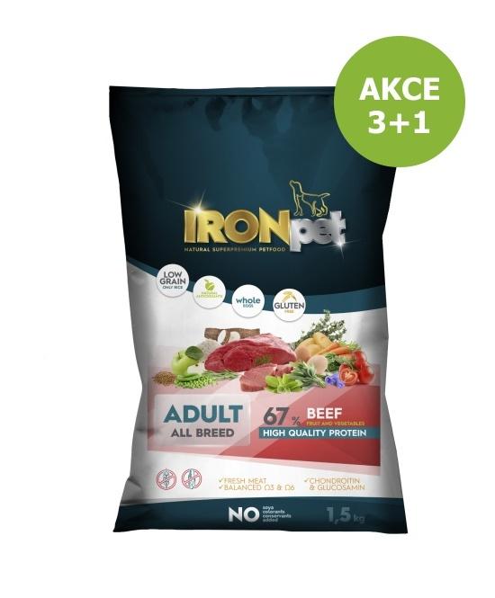 IRONpet BEEF Adult All Breed 1,5kg-AKCE 3+1ks