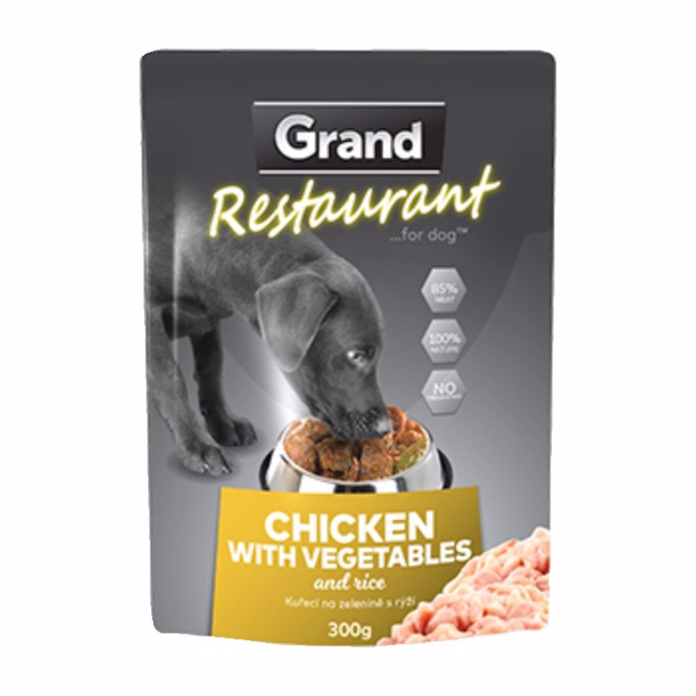 Grand deluxe Restaurant Kuřecí na zelenině kapsy pro psy 300 g
