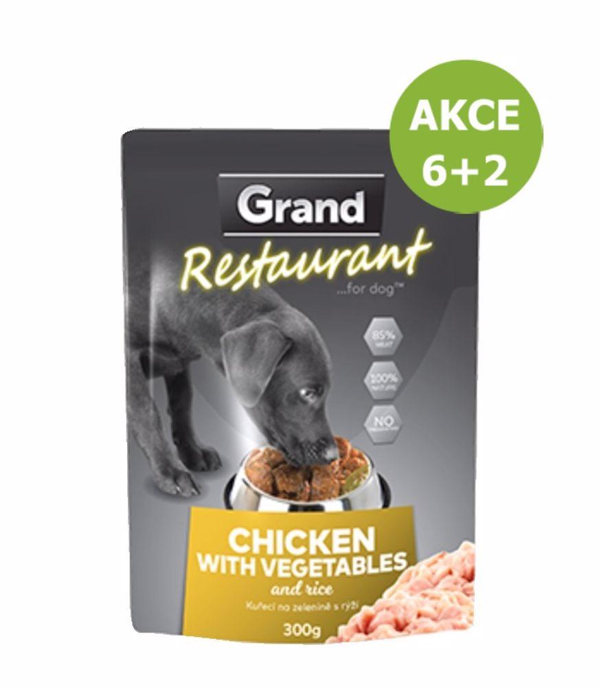 Grand deluxe Restaurant Kuřecí na zelenině kapsy pro psy 300 g-AKCE 6+2