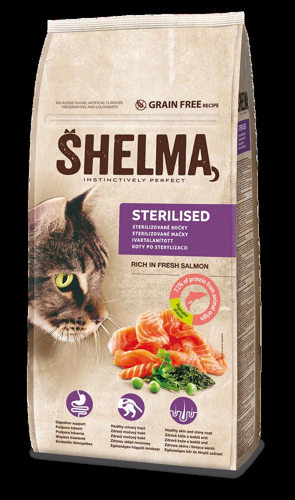 SHELMA Cat Sterilised Salmon (losos) GF 8 kg