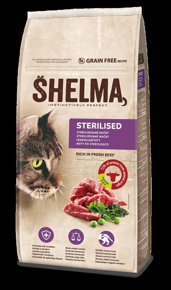 SHELMA Cat Sterilised Beef (hovězí) GF 8 kg