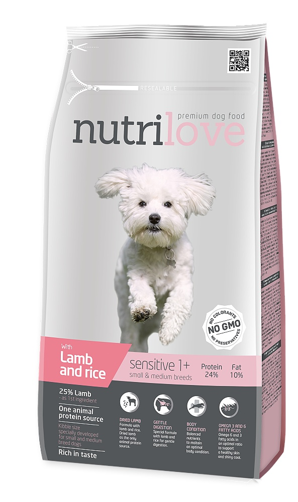 Nutrilove pes Sensitive Small Breed jehněčí, granule 1,6 kg