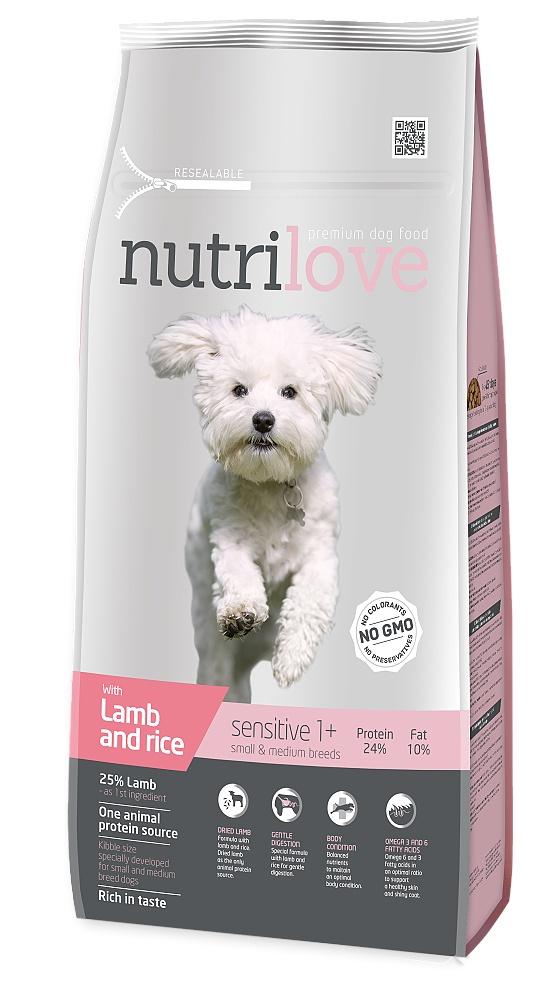 Nutrilove pes Sensitive Small Breed jehněčí, granule 8 kg