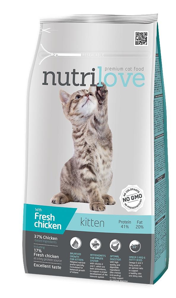 Nutrilove kočka Kitten kuřecí, granule 1,4 kg