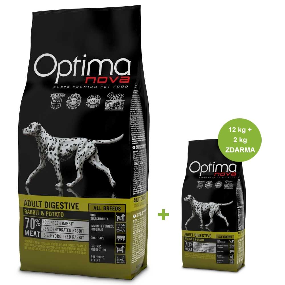 OPTIMAnova Dog Adult Digestive Rabbit GF 12 kg +2 kg ZDARMA