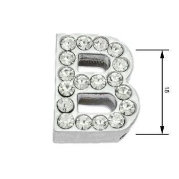 Navlékací písmenka -B- 18mm,vysázené krystaly-7383