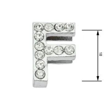 Navlékací písmenka -F- 18mm,vysázené krystaly-7387