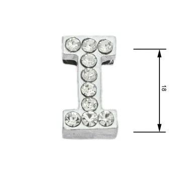 Navlékací písmenka -I- 18mm,vysázené krystaly-7390