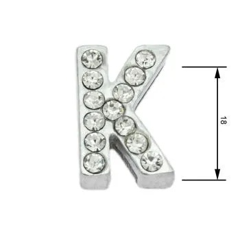 Navlékací písmenka -K- 18mm,vysázené krystaly-7392