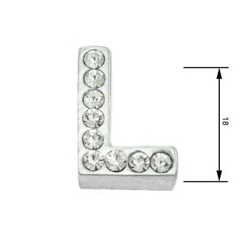 Navlékací písmenka -L- 18mm,vysázené krystaly-7393