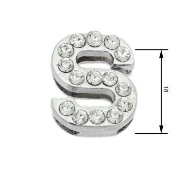 Navlékací písmenka -S- 18mm,vysázené krystaly-7399
