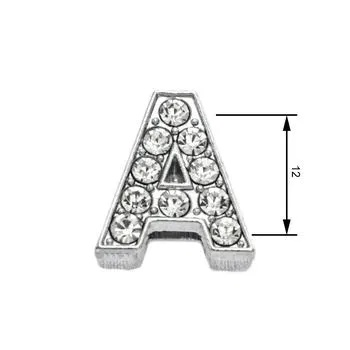 Navlékací písmenka  -A-12mm,vysázené krystaly-7406