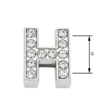 Navlékací písmenka  -H- 12mm,vysázené krystaly-7412
