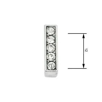 Navlékací písmenka  -I- 12mm,vysázené krystaly-7413