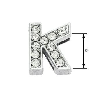 Navlékací písmenka  -K- 12mm,vysázené krystaly-7415