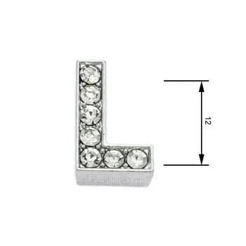 Navlékací písmenka  -L- 12mm,vysázené krystaly-7416