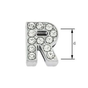 Navlékací písmenka  -R- 12mm,vysázené krystaly-7421