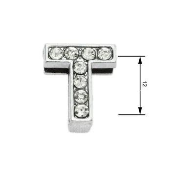 Navlékací písmenka  -T- 12mm,vysázené krystaly-7423