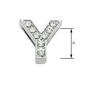 Navlékací písmenka  -Y- 12mm,vysázené krystaly-7427