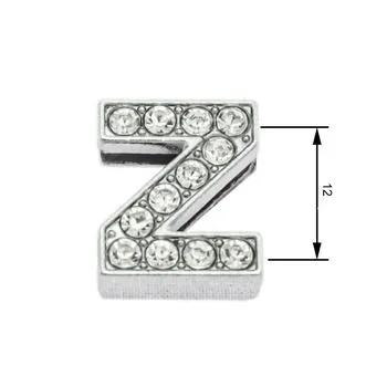 Navlékací písmenka  -Z- 12mm,vysázené krystaly-7428