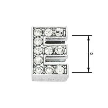 Navlékací písmenka  -E-12mm,vysázené krystaly-7429