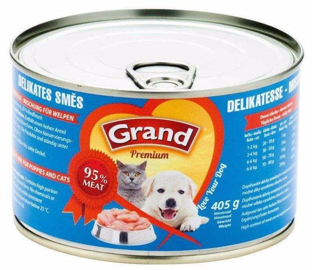 GRAND premium DELIKATÉS-cat-dog-směs 405g-574