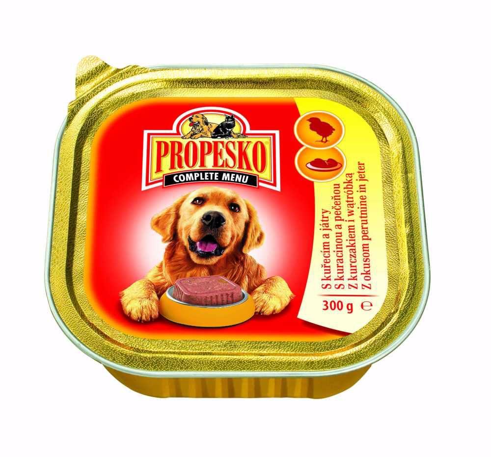 PROPESKO Dog kuřecí a játra, vanička 300 g