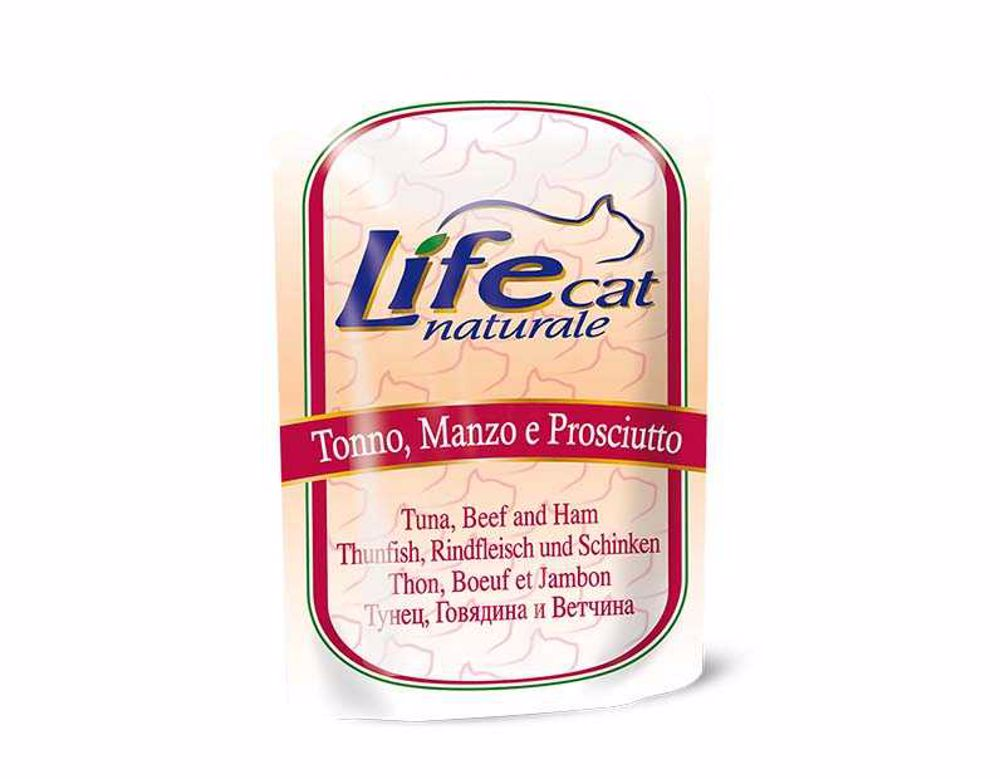 Lifecat pouch Tuna, beef and ham 70g-10124